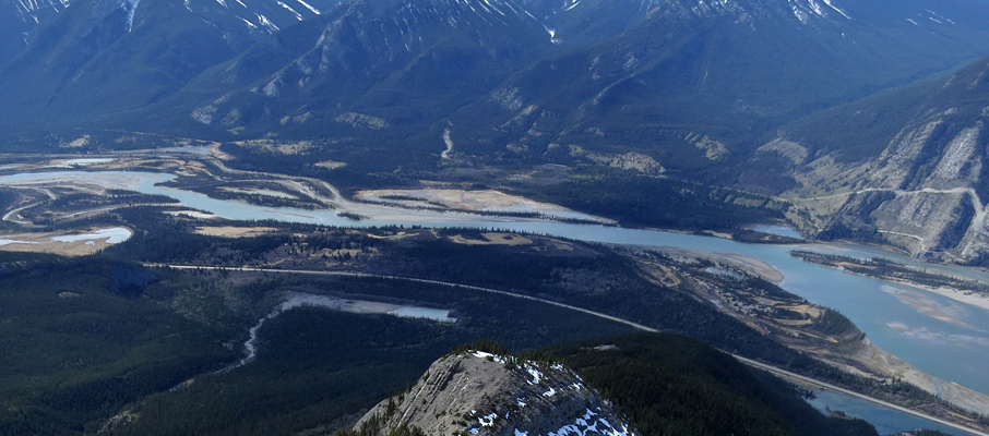 The Athabasca River from Cinquefoil Mountain