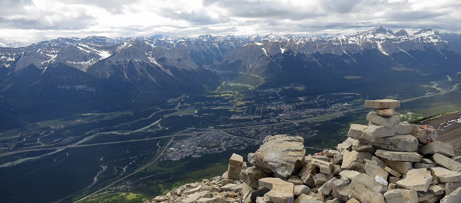 The Town of Canmore from the Summit