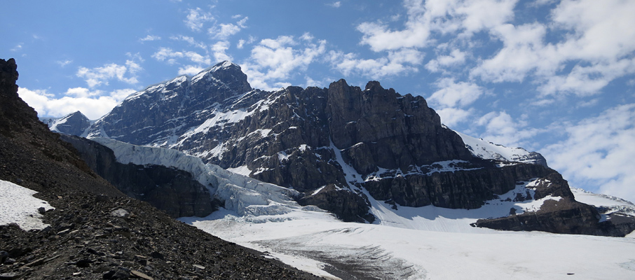 Mt. Andromeda from the approach route. Scrambling the ridge on the left allows you to reach the A/A Glacier.