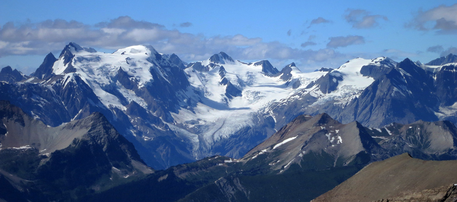 Mt. Mummery, Mt. Nanga Parbat, Mt. Giglet and Mt. Helmer with the Mummery Glacier