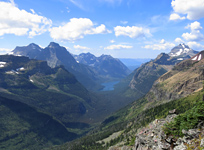 The dramatic view into Glacier National Park from Forum Peak