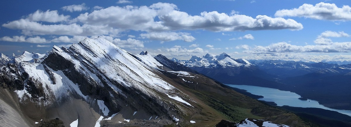 Opal Peak & Maligne Lake from a unnamed ridge to the north.