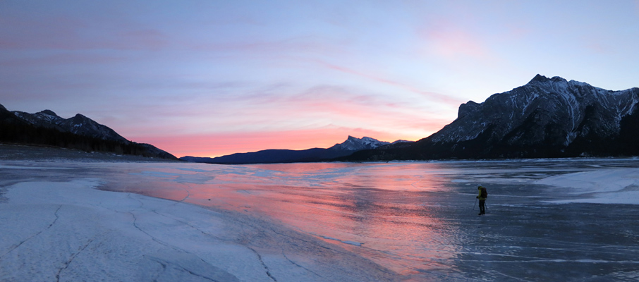 Crossing Abraham Lake at Sunrise