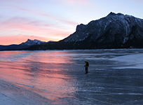 Crossing Abraham Lake at Sunrise towards Mt. Michener