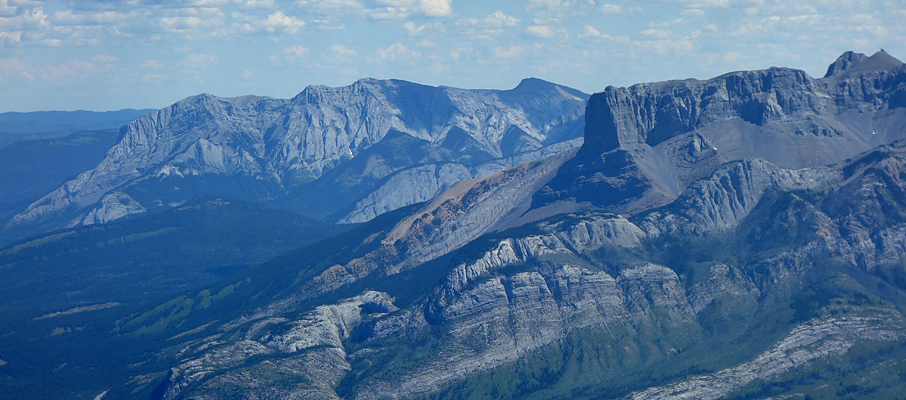 Roche a Perdrix, Fiddle Peak and Roche Miette from the summit of Roche De Smet