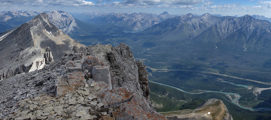 The view towards Lake Minnewanka from the summit