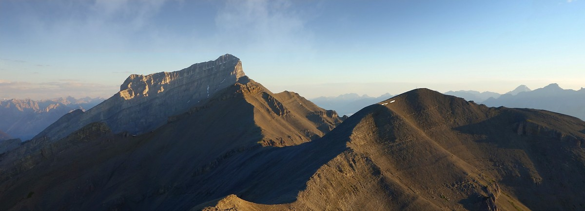 A very long traverse awaits between the East End of Rundle and its true summit.
