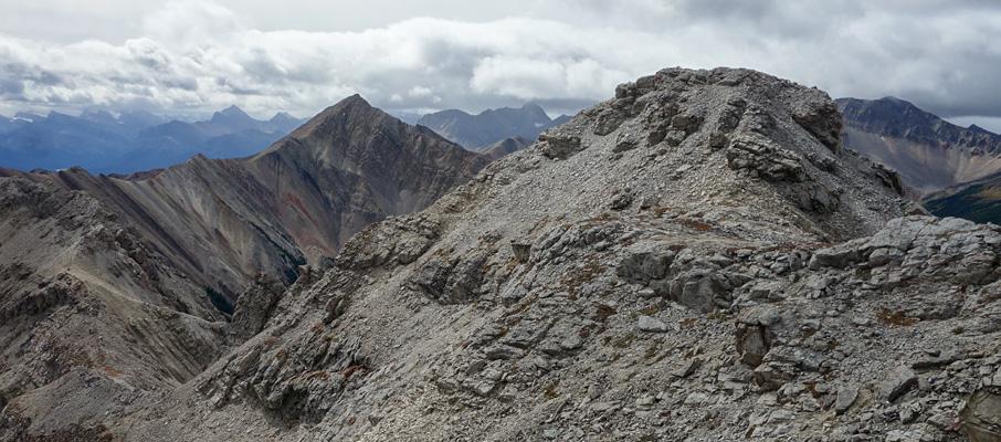 Looking back along the ridge traverse near the summit of Sentinel Mountain.