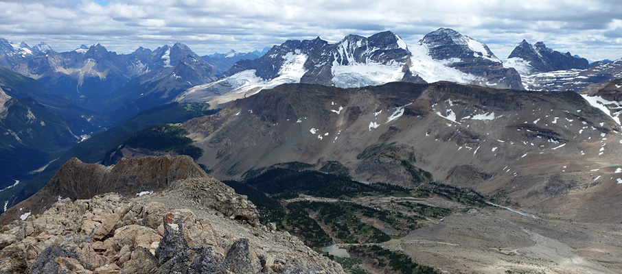 The view from the summit ridge. The slab ramp route starts/ends here, at the orange/white coloured rock.