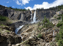 Twin Falls is the highlight of the approach to Yoho Peak.