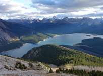 A beautiful sunset over the Spray Lakes from near the summit of Mt. Nestor.