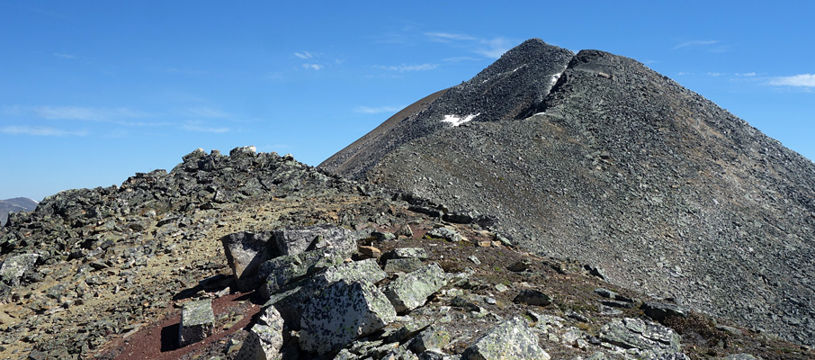 You must cross two false summits before reaching the true summit of Mt. Hardisty (visible at back)