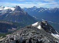 Gazing down along the humped summit ridge of Mt. Hardisty