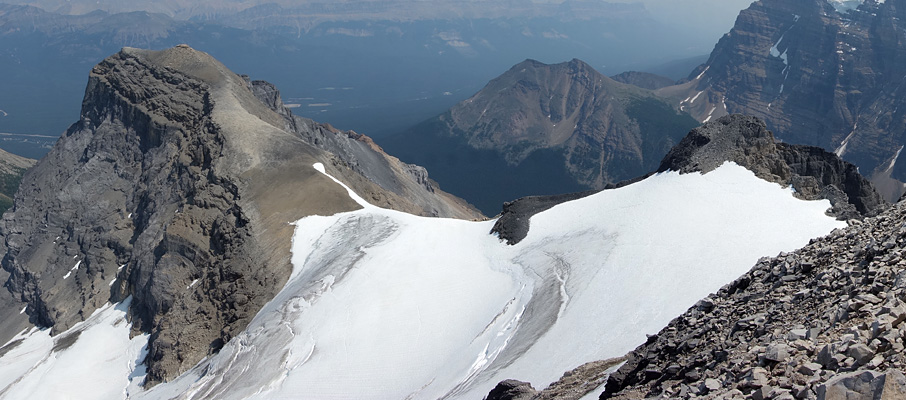 Looking over the glacier traverse to Haddo Peak from the summit of Mt. Aberdeen with Little Temple visible across the valley.